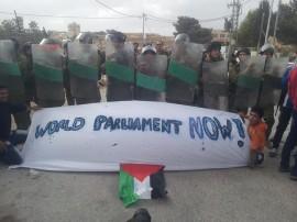 Demonstrators near Bethlehem on the West Bank